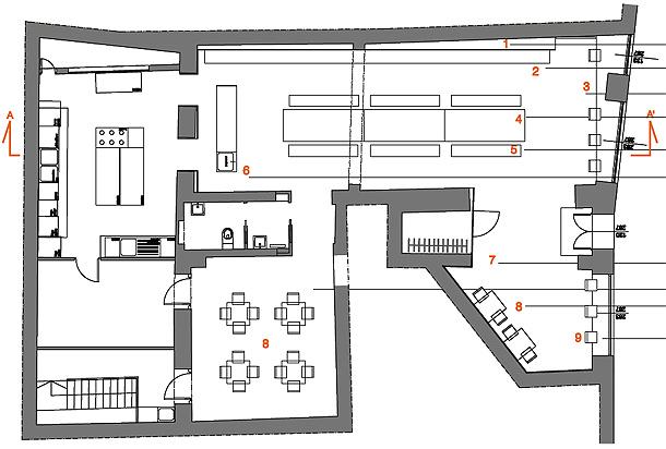 Un c lido restaurante en mantova con la firma de archiplan for Planos de restaurantes modernos