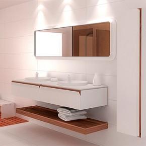 Muebles modulares para baño en DuPont Corian y madera de Ice Design