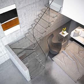Aira Glass, nueva escalera completamente de vidrio de la firma Rintal