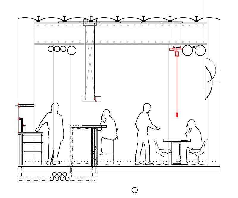 Bar restaurante raf dise ado por iv arquitectura for Dimensiones arquitectonicas